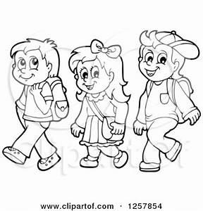 Clipart of Three Black and White Happy School Children ...