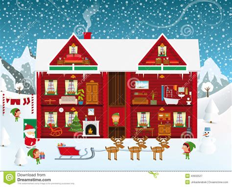 santas house stock vector illustration