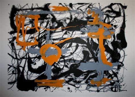 jackson pollock serigraph yellow gray black