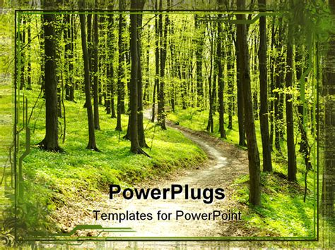 template forest powerpoint template footpath in middle of green forest 12893