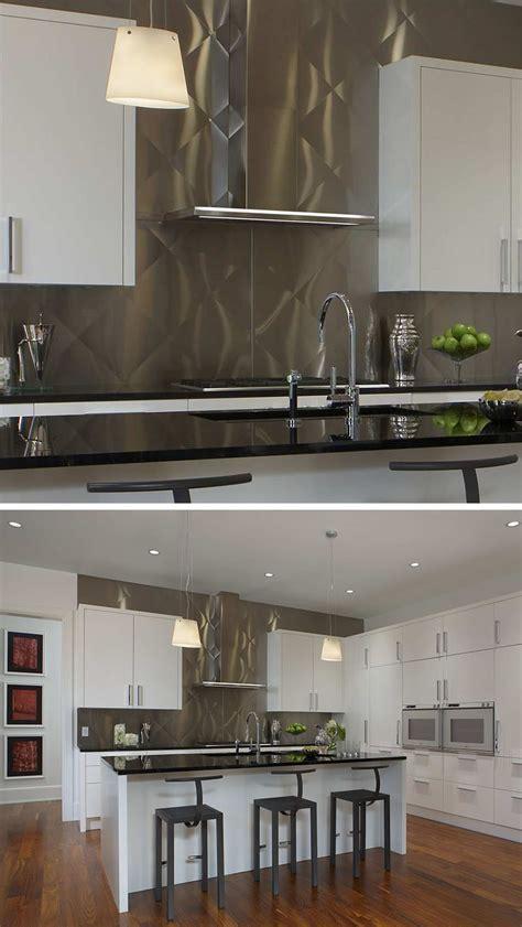 kitchen design idea install  stainless steel backsplash