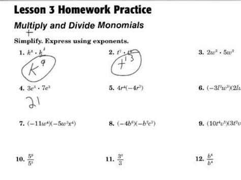 Multiply And Divide Monomials Youtube