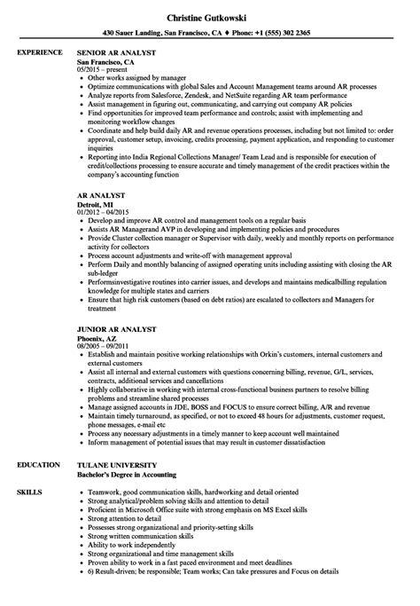 Ar Resume by Ar Analyst Resume Sles Velvet
