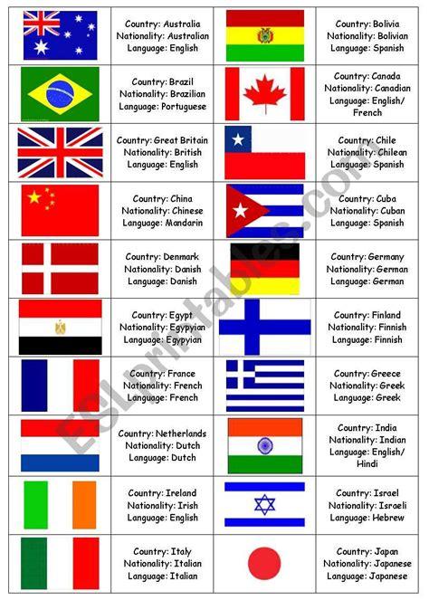 nationalities memory game esl worksheet  catayn