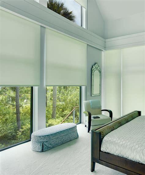 Modern L Shades Bedroom by Window Treatment Kiawah Charleston Motorized Shade