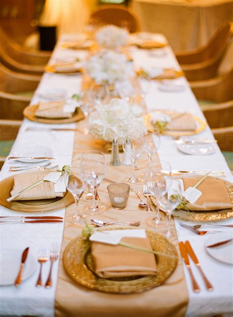 gold  champagne reception table setting elizabeth