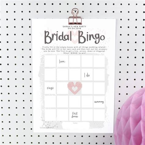 personalised bridal bingo hen party game  print