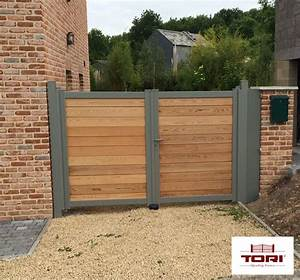 Portail En Bois : portail aluminium et bois c dre rouge poorten ~ Premium-room.com Idées de Décoration