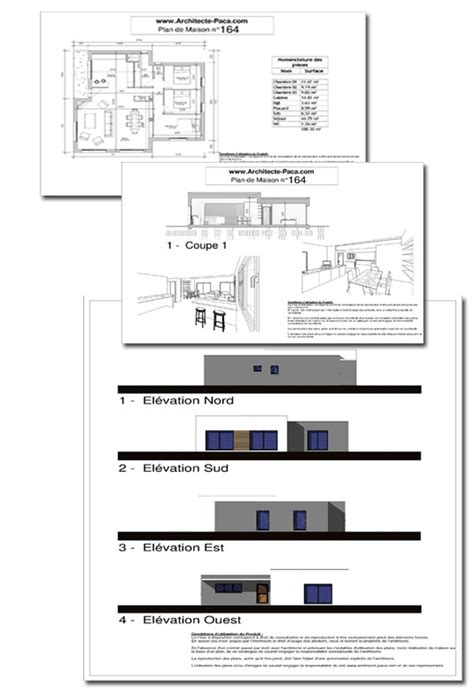 plans de cuisine ouverte maison contemporaine toit plat 164d 39 architecte 164 villa contemporaine