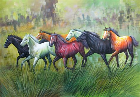 horses painting paintings running luck horse 24in 36in seven vastu race acrylic colors india achiever handpainted save 00in x49po fizdi