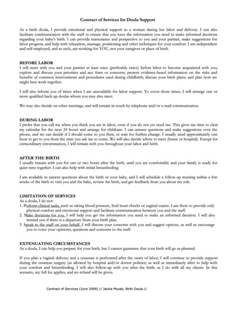 contract  services  doula support printable