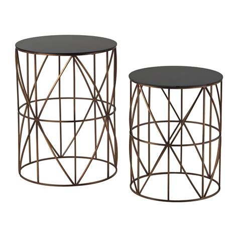 metal drum side table bradfield set of two drum side tables