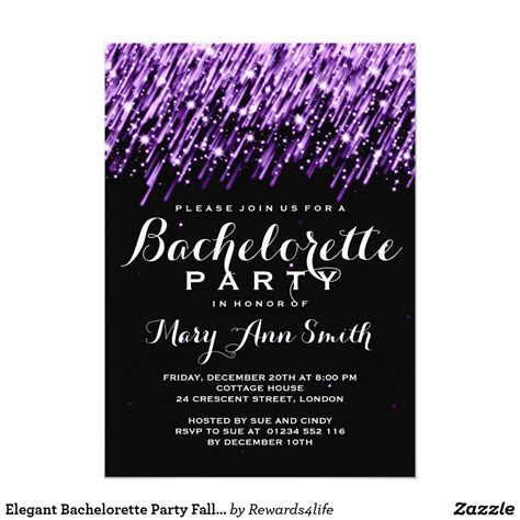 Elegant Bachelorette Party Falling Stars Purple Invitation