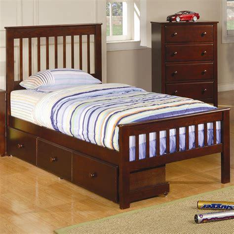 coaster parker twin slat bed  underbed storage drawer