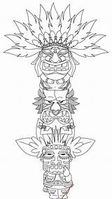 Totem Pole Coloring Pages Printable Poles Native American Tiki Craft Bestcoloringpagesforkids sketch template