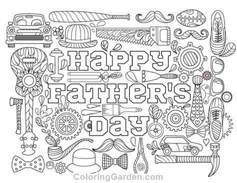 Happy Father's Day Adult Coloring Page