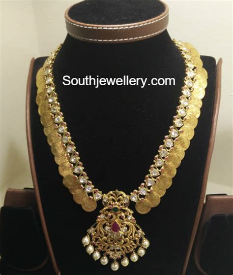 flat diamond lakshmi kasu mala jewellery designs