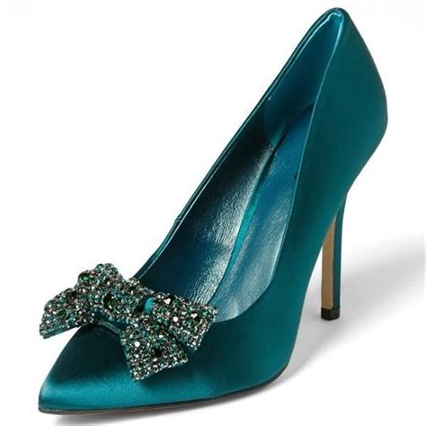 Pointy Satin Rotelli Heels satin teal heels pointy toe rhinestone bow stiletto heel