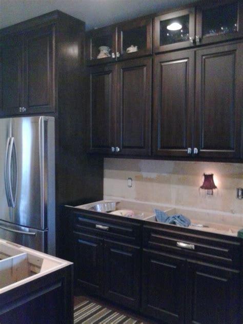 dark espresso stained maple stained kitchen cabinets