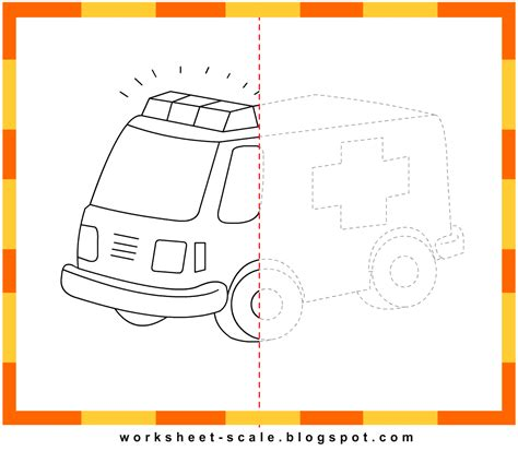 free printable drawing worksheets for ambulance