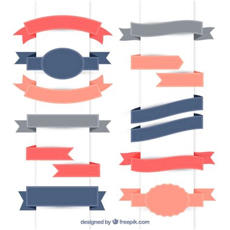 Ribbon Flat collection of vintage flat ribbon vector free