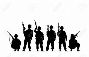 Silhouette clipart army - Pencil and in color silhouette ...