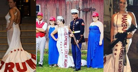 couple hosts trump themed wedding   maga dress red