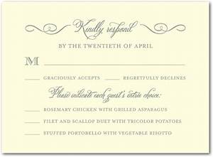sample rsvp with dinner choices wedding invites With wedding invitation reply format