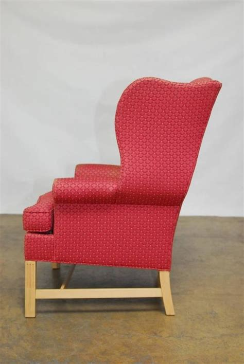 pair  chippendale design wing chairs  drexel heritage