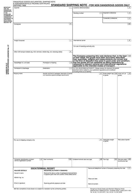 Standard Shipping Note Template by Buy Dangerous Goods Notes Dangerous Goods Declarations