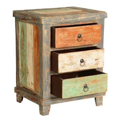 Green Nightstand Table by Orange White Green Stripes Mango Wood Rustic Nightstand