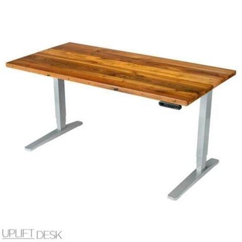 wood standing desk adjustable uplift height adjustable standing desk w reclaimed wood
