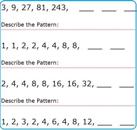 numbers patterns worksheets easy numbers pattern games