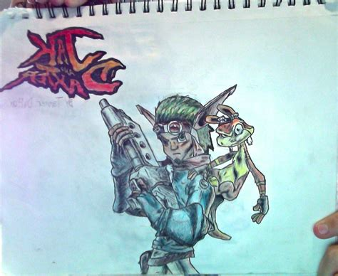 Jak And Daxter + Jak And Daxter Logo Drawing By Tannmann64