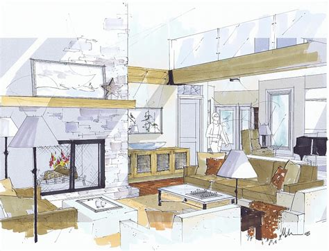 michelle morelans hybrid drawings  interior design