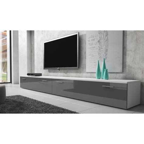 boston meuble tv contemporain d 233 cor blanc et gris 300 cm achat vente meuble tv boston