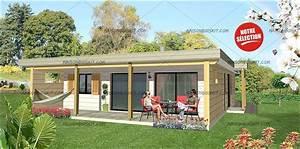 maison bois moderne 2 chambres terrasse et toit plat vegetal With maison toit plat en l 1 maison en kit toit plat