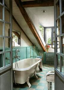 Charming Rustic Cottage Bathroom With Panelled Wainscoting  Checkered Floor Tiles And A Clawfoot
