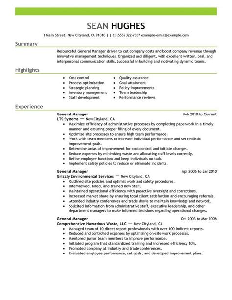 Management Resume Exles by General Manager 4 Resume Exles Manager Resume
