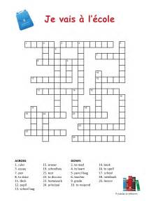 school vocabulary crossword puzzle