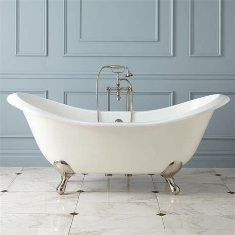 "71"" Gretta Cast Iron Doubleslipper Clawfoot Tub Bathroom"