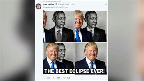 trump retweets meme   blocking obama labeled