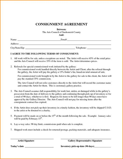 Consignment Store Contract Template by Consignment Inventory Agreement Template