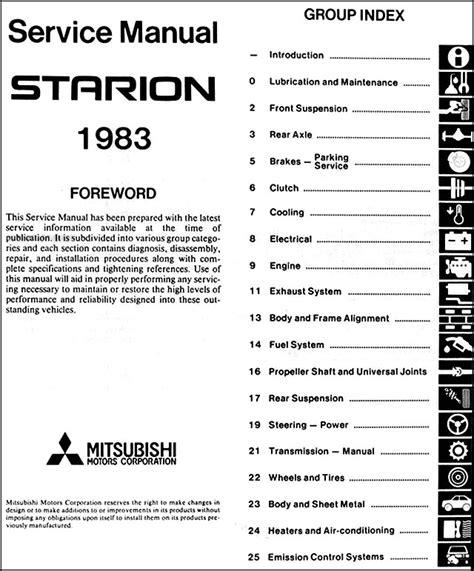 free car repair manuals 1989 mitsubishi starion electronic toll collection 1983 mitsubishi starion repair shop manual original