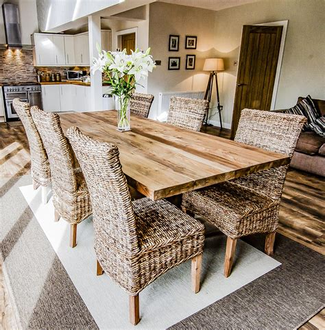 unique solid reclaimed wooden dining table  solid legs