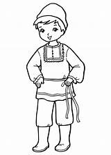 Coloring Boy Costume National Pages Russian Around sketch template