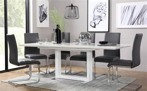 Dining Room Table And Chairs by Tokyo White High Gloss Extending Dining Table With 6 Perth