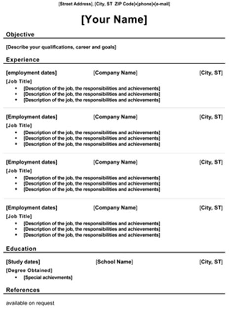 free resume templates sle resume format exles 8ws templates forms