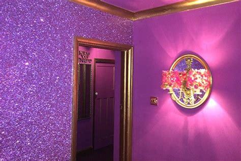 lilac glitter wall  pink house  air bnb glitter