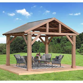 cedar pavilion  aluminum roof